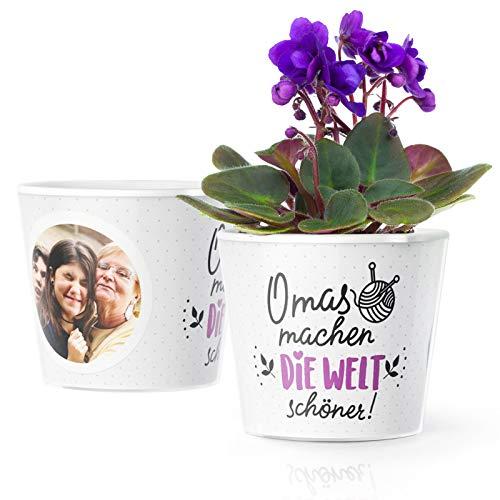 Facepot Geschenk für Großmutter - Blumentopf (ø16cm) Omas Geburtstag, zu Weihnachten oder Valentinstag mit Bilderrahmen für Zwei Fotos (10x15cm) - Omas Machen die Welt schöner!