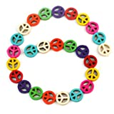 Refaxi 26x Fashion Mix Color Peace Symbol Spacer Beads Turquoise 15mm Jewelry DIY