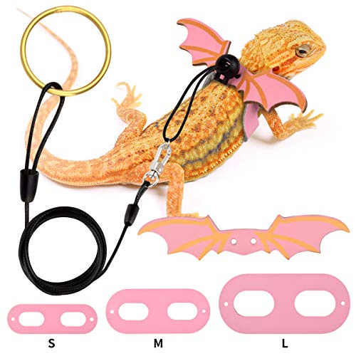 Bearded Dragon Leash Bearded Dragon Harness Lizard Comfort Leather Leash Harness with Cool Wings Adjustable Safety Walking Leash for Reptiles Amphibians and Small Pet Animals (S/M/L, 3 Pack) (Pink)