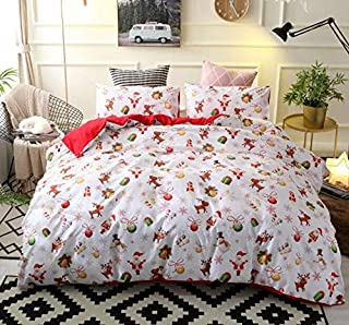 Twin Sleepwish Pug Antlers Duvet Cover Animals Pet Print Bedding Merry Pug Party 3 Pieces Deer Pug Duvet Cover