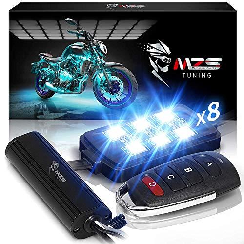 MZS LED-Streifen-Set für Motorrad, 18, mehrfarbig, RGB, Neonlicht, Atmosphäre, mit Fernbedienung, kabellos, für ATV UTV Cruiser Harley Davidson Ducati Suzuki Honda Triumph Yamaha (8 Stück)