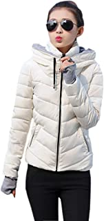KINDOYO Women Quilted Coat - New Ladies Quilted Winter Coat Hooded Slim Down Jacket Parka Coat