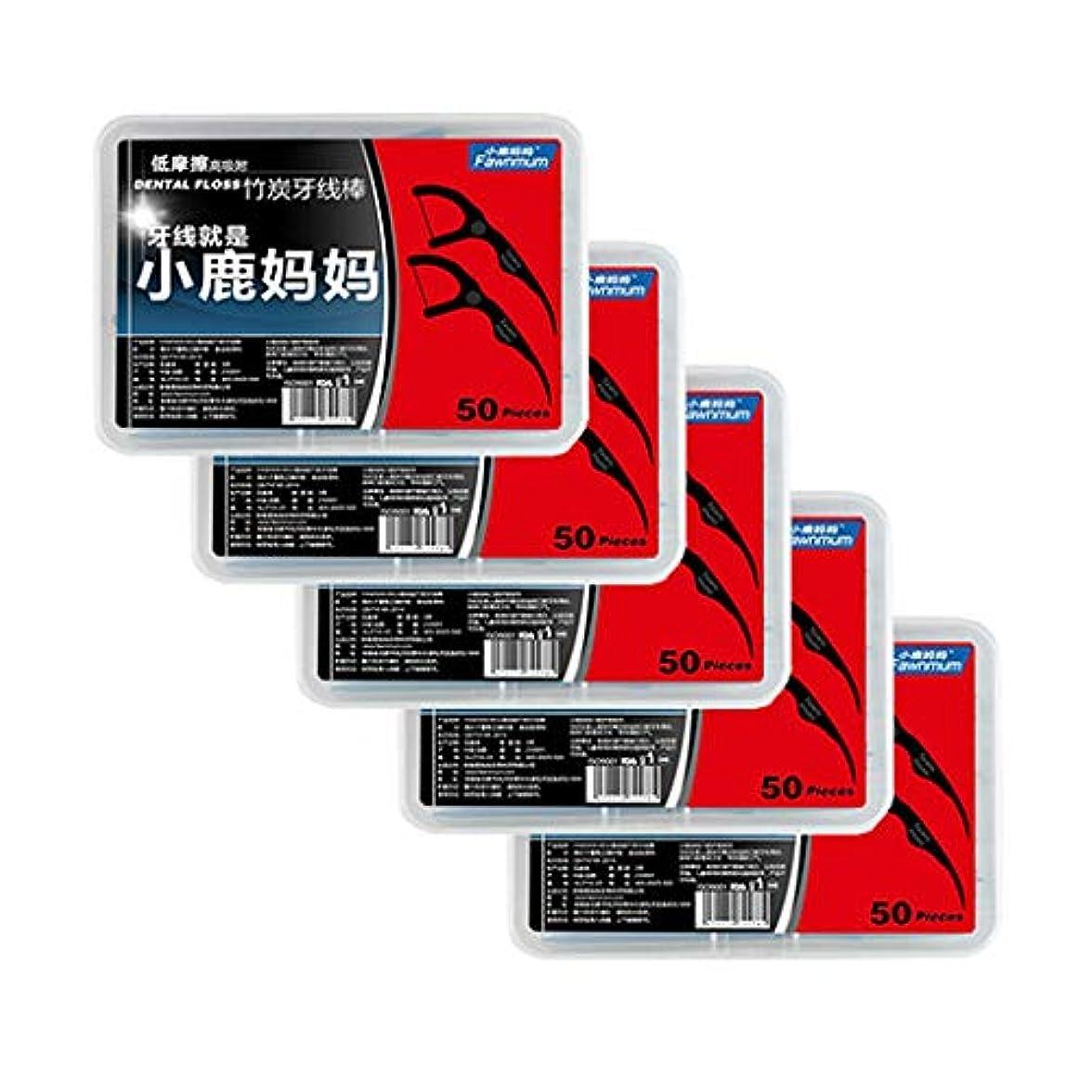 刈り取るコーラスキャラクターALANO フロス&スティック 耐摩耗 食品グレードの材料 奥歯の歯間に使いやすい 歯垢対策(5箱、1箱50個、250本入)