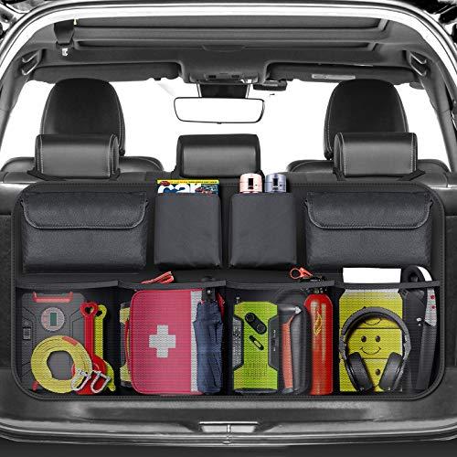 BURNNOVE Organizer Bagagliaio Auto Organizer per Bagagliaio Borsa Portabagagli Pieghevoli Auto per SUV e MPV con Elastic Net Magic Stick Risparmiare Spazio sul Sedile Posteriore