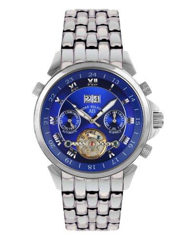 André Belfort 410013 - Reloj analógico de caballero automático con correa de acero inoxidable plateada - sumergible a 50 metros