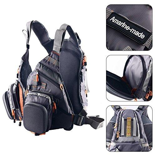 Amarine Made Fly Fishing Backpack Adjustable Size Multi-purpose Vest Mesh Fishing Vest Pack,Detachable Fly Fishing Vest and Backpack Combo with Chest Strap and Chest Bag Messenger Bag-D77 (Gray)