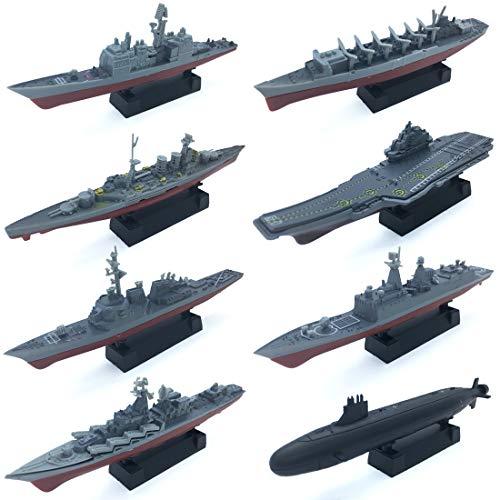 8 Sets 3D-Puzzle Model Battleship Aircraft Carrier Toy Submarine, Plastic Model Warships Ship Kits, Navy Ship Battleship Models for Collection by Kvvdi