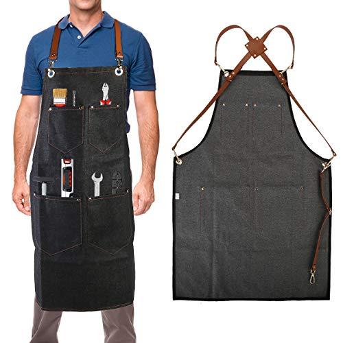 iFCOW Universal Denim kookschorten voor mannen en vrouwen timmerlieden schort zachte en geventileerde pak voor keuken tuin ambachtelijke werkplaats garage