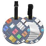 Slaytio - Etichetta per Valigia, Personalizzabile, con Libro Creativo e Cellulare, Nero, 4 Pezzi
