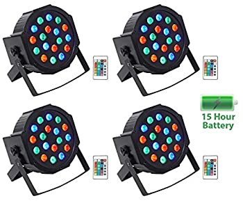 4  Rockville BATTERY PAR 50 Rechargeable LED DMX DJ Club Wash Up-Lights+Remote