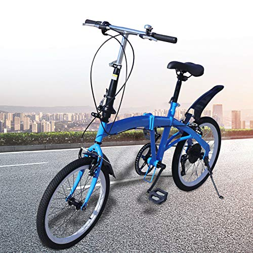 Bicicletta pieghevole da 20', telaio in acciaio al carbonio, 7 marce, altezza seduta regolabile fino a 90 kg, blu per sport all'aria aperta