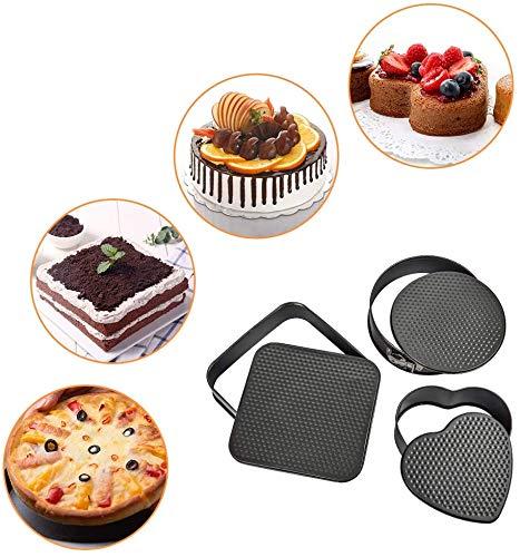 Syga Set Of 3 Circle, Square And Heart Shape Spring Form Cake Tin Mould - Black
