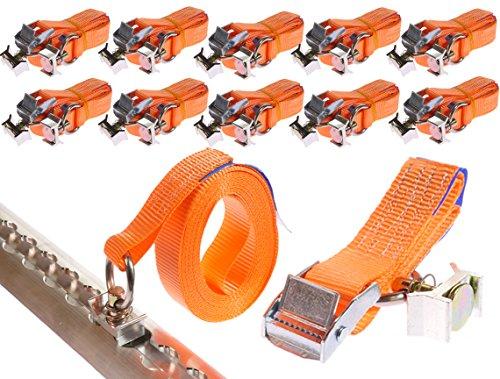INDUSTRIE PLANET 10 x 250 daN kg 5 m 0,25t für Airlineschiene Klemmschloss mit Endbeschlag Spanngurte 2 teilig zweiteilig DIN EN 12195-2
