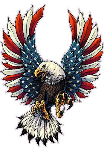 Screaming American Flag Bald Eagle with Black Wing Tips Decal is 6.0 in Size