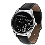 Whatever, I'm Late Anyway Watch,The Original ZIZ Black Unisex Wrist Watch, Funny Wrist Watch, Every Watch Comes in A Beautiful Gift Box and with an Additional Band