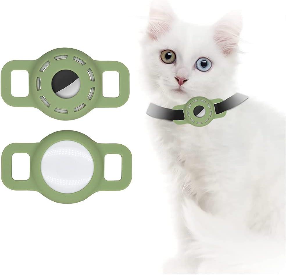 Airtag Funda de Silicona para Collar de Mascotas, Funda Airtag con película Protectora HD de Alta Transparencia, Buscador GPS portátil Ajustable para Collar de Perro y Gato 2 PCS (2-Verde Matcha)