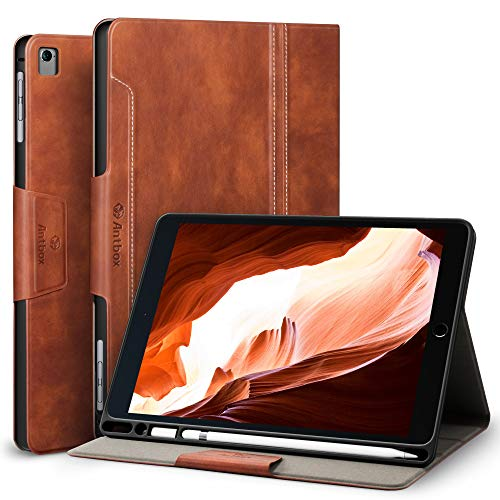 Antbox iPad Case for iPad Air 2 Case with Pencil iPad Pro 9.7/ iPad Air Case Holder Auto Sleep/Wake Function PU Leather Smart Cover (Brown)