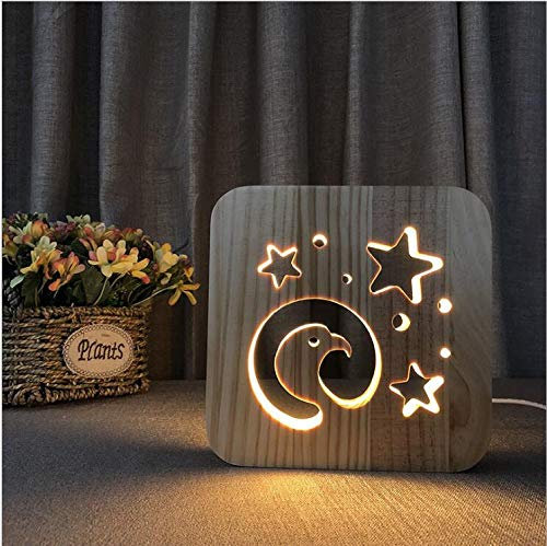 Twtiq Solid Wood Carved Wooden Led Night Light Eagle Head Night Light Gift Light