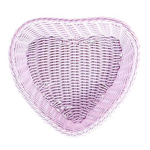 WHDJ Cesta de Frutas Rectangular en Forma de corazón, frutero Tejido de ratán Hecho a Mano para Regalo de inauguración de la casa, Pan y refrigerio(Heart Purple)