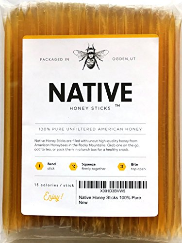 Native Honey Sticks, Pure and Uncut Honey Straws Made in the USA with Real Wildflower Honey (100 Pack)
