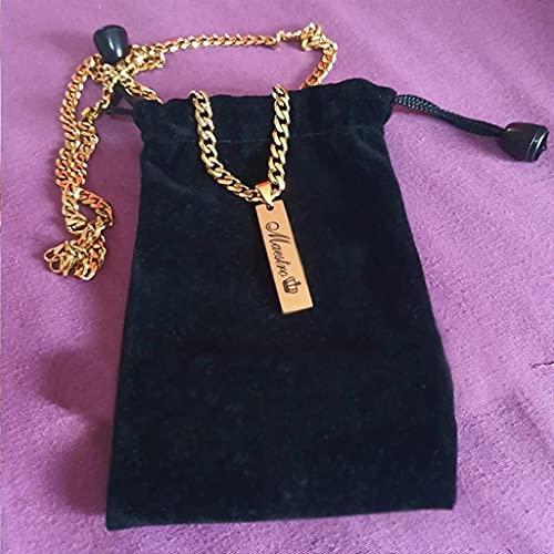 KONZFP collarCollares con Nombre Personalizados, Cadena de Acero Inoxidable Dorado para Mujeres, Hombres, Regalo, Placa de identificación, joyería