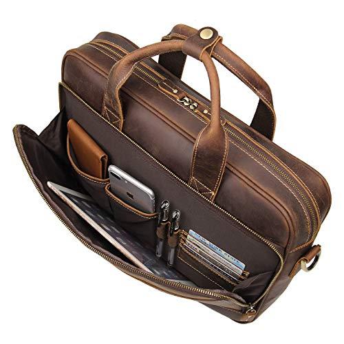 Augus Leather Messenger Bag for Men Vintage Travel Backpack 15.6 inch laptop Briefcase Shoulder Bags With YKK Metal Zipper