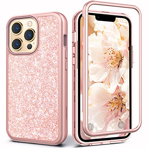 Coolwee Glitter Full Protective Case Compatible iPhone 13 Pro Max Heavy Duty Hybrid 3 in 1 Rugged Shockproof Women Girls Rose Gold Pink Compatible with Apple iPhone 13 Pro Max 6.7 inch Shiny Bling