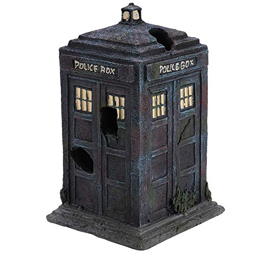 Simulation Resin Aquarium Decor Sentry Box Fish Tank Aquarium Ornaments Durable Steady Artificial Police Box Shelter Decoration for Water Fish Landscape Accessory