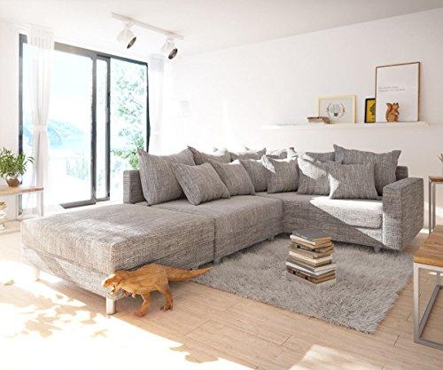 Sofa Clovis erweiterbares Modulsofa Eckcouch Wohnlandschaft (Ecksofa Rechts mit Hocker + Armlehne, Grau)