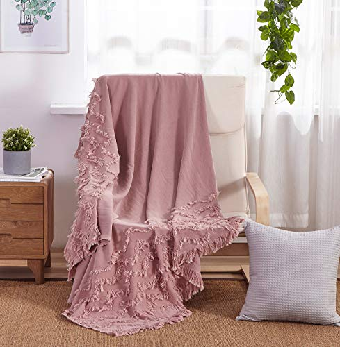 """PHF Cotton Throw Blanket for Adults, Kids, Couch, Bed Car Soft Cozy 50"""" x 60"""" Dusty Pink"""