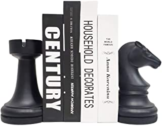 Chess Bookends, Universal Economy Decorative Bookends, Heavy Book Ends Supports for Books, 7x7x4 inches, Black,1Pair/2Piec...