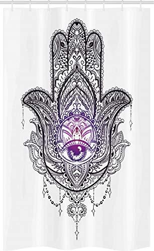 ABAKUHAUS Hamsa Cortina para baño, Mandala Orient Lotus, Tela con Estampa Digital Apta Lavadora Incluye Ganchos, 120 x 180 cm, Púrpura Blanco y Negro