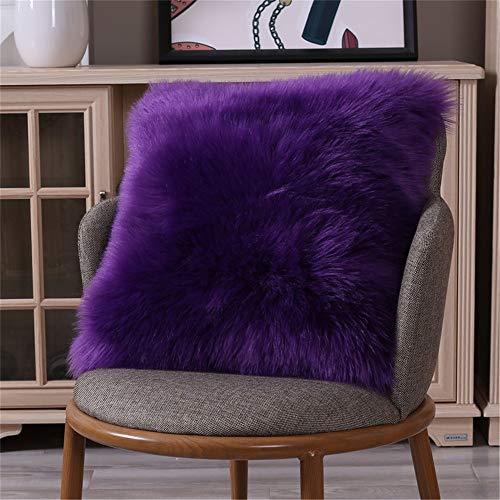 XDKS Fundas de cojín de piel sintética, suaves y esponjosas, fundas de almohada de felpa para sofá, dormitorio, coche, decoración del hogar (40 x 40 cm, morado)