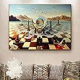 SHSYFBH Lienzo de Arte de Pared 60x80 cm sin Marco Salvador Dalí Surrealismo Ajedrez Mar Pinturas en Lienzo Cuadros Abstractos de Pared para la decoración del hogar de la Sala de Estar