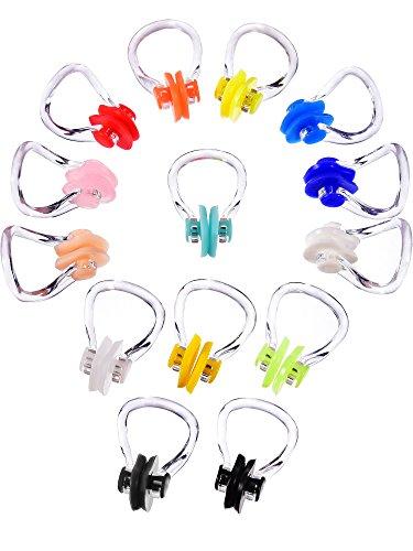 Hicarer 14 Stück Nase Clip Schwimmen Nase Plug Swim Nasenschutz für Schwimmen, 14 Farben (14 Colors)