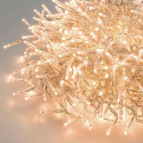 LuminalPark Cluster-Lichterkette 15 m, 1500 Mini LEDs warmweiß, transparentes Kabel, Dauerlicht, 30V, innen