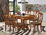 East-West Furniture AVNA7-SBR-C dining table set- 6 Fantastic kitchen chairs - A Gorgeous wood dining table- Linen Fabric seat and Saddle Brown Finnish Butterfly Leaf mid century dining table