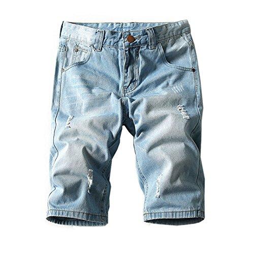 Hzcx Fashion Men's Summer Light Weight Blue Short Jeans Slim Brush Denim Shorts QT3016-K369-30-42