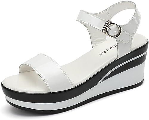 HAIZHEN chaussures pour femmes Noir Blanc Femmes sandales d'été d'été Sandales décontractées de mode (6,5 cm) Pour femmes (Couleur   Blanc, taille   EU39 UK6.5 CN40)