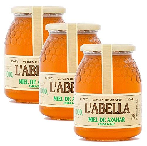 Orangenblütenhonig aus Spanien - Orangenhonig - Premium Qualität - Naturprodukt - kaltgeschleudert - fruchtiger Geschmack der Zitrusfrucht- 3 x 1 Kg , Größe:1000 ml, Geschmack:Orange