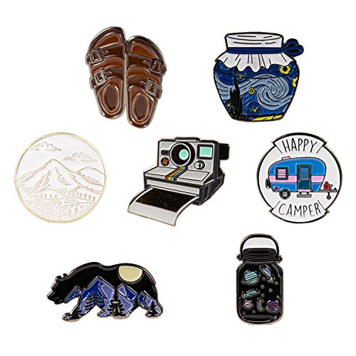 7 Outdoors Enamel Pins For Backpacks - Enamel Pin Set | Pins for Jackets by The Carefree Bee (Set 2)