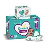 Diapers Size 4, 160 Count and Baby Wipes - Pampers Cruisers Disposable Baby Diapers and Water Baby Wipes Sensitive Pop-Top Packs, 336 Count (Packaging May Vary)
