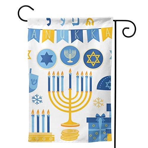 MINIOZE Hanukkah Candle Gold Coin Gyro Blue Gift Themed Welcome Party Outdoor Outside Decorations Ornament Picks Home House Garden Yard Decor Double Sided 12.5 X 18 Small Flag 28 X 40 Jumbo Large