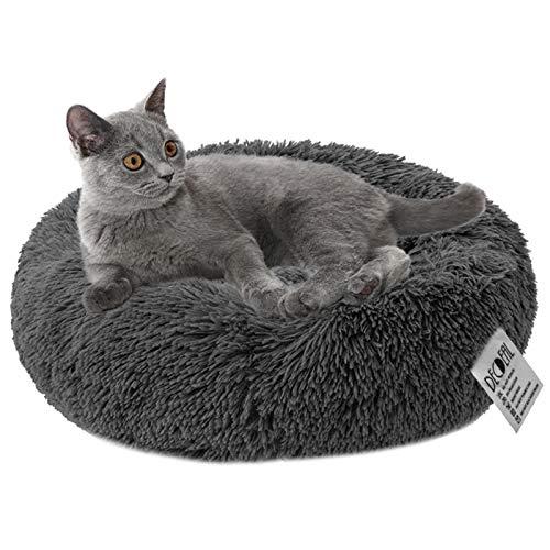 Decdeal Ciambella per Animali Domestici Morbido Peluche Tondo per Animali Domestici Gatto Morbido Lettino per Gatti per Cani, 40/50/60/70CM, 12 Colori Disponibili