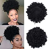 Rosa Star Afro Puff Drawstring Ponytail Synthetic Short Afro Kinky Curly Afro Hair Bun Extension Hairpieces Updo Hair Extensions with Two Clips (Black Color 1B#)