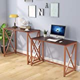 Tribesigns Two Person Computer Desk, 84 Inch Long Computer Desk or L Shaped Desk, Double Desks Workstation for Home Office, Rose Gold