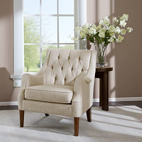 Best Madison Park Qwen Accent Chairs - Hardwood, Birch, Faux Linen Living Room Chairs - Cream Ivory, Vint