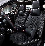 Ededi Leder Sitzbezüge-Set, Universal Gitter Autositzbezüge Set Voll Auto Vorderseite und Rückseite, 9-Teiliges Set (Farbe : SCHWARZ)