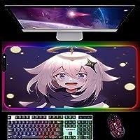 マウスパッドRGBマウスパッドアニメ源信インパクトLEDライトゲーミングマウスマットバックライト付きコンピューターキーボードマット900x400x4mmA