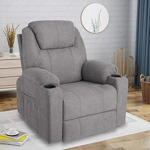 LETATA Recliner Chair Rocking 360° Swivel Fabric Furniture Ergonomic...